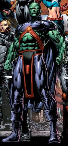Martian Manhunter (J'onn J'onzz aliases; Bloodwynd, Bronze Wraith, Fernus, Manhunter from Mars, Marco Xavier) (Extraterrestrial Humanoid) (Mars) Crime-fighter. Telepathy. Shape-shifting. Projecting energy. X-ray vision. Phasing. Invisibility. Flight. Super strength. Super speed. Telekinesis. Healing factor. 6' 7' tall.