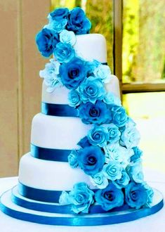 Trendy wedding cakes blue and silver black ribbon Purple Wedding Cakes, Beautiful Wedding Cakes, Gorgeous Cakes, Pretty Cakes, Wedding Colors, Dream Wedding, Trendy Wedding, Wedding Blue, Wedding Ideas