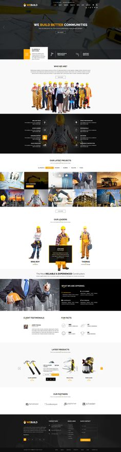 WEBUILD – Construction & Building PSD Template is a clean and modern PSD template suitable for construction, building companies and those that offer building Website Design Inspiration, Beautiful Website Design, Design Ideas, Engineering Companies, Building Companies, Responsive Grid, Web Development Agency, Wordpress, Modern Website