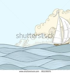 stock vector : Retro hand draw styled sea with clouds and sailor boat. Vector illustration.