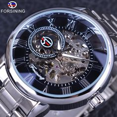 Forsining Classic Retro Series 3D Logo Display Silver Stainless Steel Skeleton Dial Mens Watch Top Brand Luxury Mechanical Watch #Affiliate