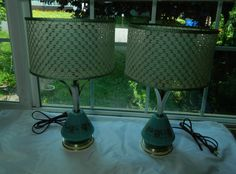 Pair of Mid Century Atomic Table Lamps with Fiberglass Shades