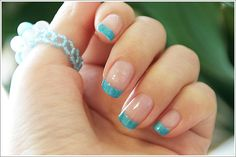 sky blue french nails
