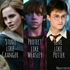 Kết quả hình ảnh cho study like granger protect like weasley live like potter