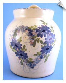 Pottery Cookie Jar Hand Painted Blue Flower Floral Heart Sponge Rim SOLD