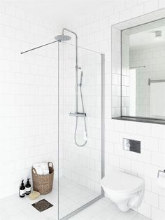 Amazing Modern Calm-Looking Interior Design In Neutral Colors : Calm Modern Interior Design With White Bathroom Wall Glass Shower Closet Mirror Ceramic Floor Downstairs Bathroom, Bathroom Inspo, Laundry In Bathroom, White Bathroom, Bathroom Inspiration, Small Bathroom, Master Bathroom, White Shower, Design Bathroom