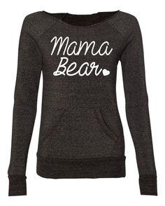 Mama Bear Off Shoulder Sweater. Women Eco Fleece Sweatshirt. Mama Bear Sweatshirt.
