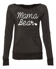 Mama Bear Off Shoulder Sweater. Women Eco Fleece Sweatshirt. Mama Bear Sweatshirt.
