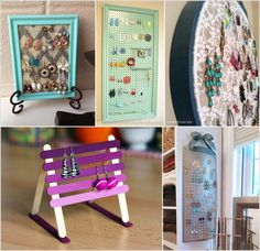 The Complete Beginner's Guide to Earing Storage Ideas - Sofa Rotan Diy Jewelry Organizer Tray, Stud Earring Organizer, Jewellery Storage, Jewellery Display, Homemade Earring Holders, Diy Earring Holder, Diy Earrings And Necklaces, Diy Earrings Studs, Earring Display Stands