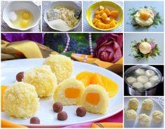"""ТВОРОЖНЫЕ """"СОЛНЫШКИ"""" Ингредиенты: 500 г творог, 4 ст.л. сахар, 2 шт. яйца куриные,  6 ст. л. крупа манная,  2 ст.л. мука, 250 г персик (в сиропе), 3 пачки кукурузные палочки, по вкусу ванилин и сыр плавленый (шоколадный)"""