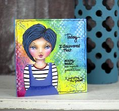 """Today I Discovered"" Mixed Media Girl Painting -- Explore your talents with this mixed media creation.  #decoartprojects"