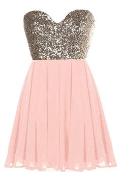 Take your hen party to the stratosphere with a super feminine mini you'll love flaunting! Features a charming sweetheart neckline, glittering gold sequin bodice, centered rear zip closure, and a romantic blush pink A-line skirt to finish.