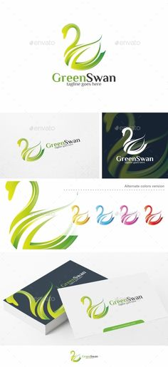 Green Swan  Logo Template — Vector EPS #goose #nature • Available here → https://graphicriver.net/item/green-swan-logo-template/13597886?ref=pxcr