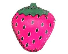 Strawberry Wallet - Strawberries - Pink Green Leather Change Bag - Gifts for Women - Fruit Purse - Fruit Pouch Novelty Food -  Item #1267