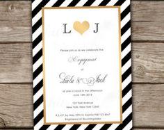 Gold & Black Monogram Engagement Invitations