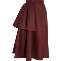 Roksanda Ilincic Avison draped wool-blend felt skirt (1,325 CAD) ❤ liked on Polyvore featuring skirts, bottoms, roksanda ilincic, faldas, red, tiered skirt, red skirt, red tiered skirt and draped skirt