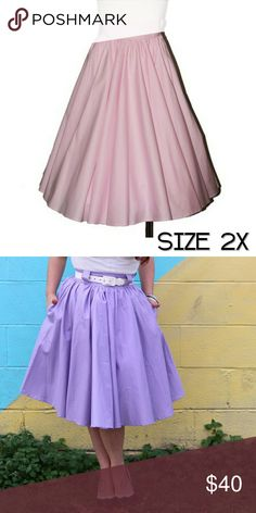 Pinup Circle Skirt pastel pink size 2X Pinup style pastel pink gathered circle skirt from Lil Lou Lou. Long vintage style skirt with pockets and belt loops! Plus size 2X #retro #rockabilly #retrostyle #madeincalifornia #pinup lil Lou lou Skirts
