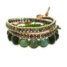 Pack de bracelet 2 tours et bracelet Shamballa vert
