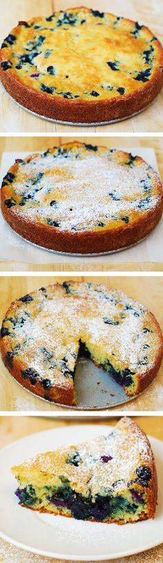 Delicious, light and fluffy Blueberry Greek Yogurt Cake made in a springform baking pan. Greek yogurt gives a richer texture to the batter! #berry_cake (Fluffy Baking Eggs)