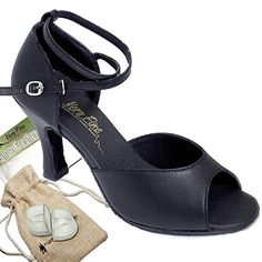 Bundle Lightweight Very Fine Women Ballroom Salsa Latin Tango Dance Shoe 6012 Heel Protectors Pouch Black Leather 8 M US Heel 3 Inch -- Click image for more details.