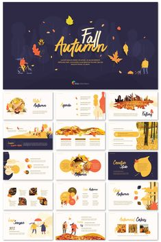 This presentation template with Fall themed illustrations provide infographics and diagrams that are essential for visual delivery of information. Best Presentation Templates, Presentation Board Design, Powerpoint Design Templates, Creative Powerpoint, Power Point Gratis, Web Design, Catalog Design, Grafik Design, Desktop Design