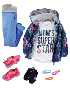 She's got super star style in stretchy blue pants, a fun windbreaker and a slogan to match! Add bright sneakers and bracelets for an…