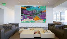 Large Print Purple Painting Turquoise Abstract por JuliaApostolova