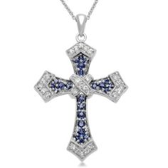 """Sterling Silver Round Created Sapphire Cross Pendant Necklace, 18"""" Amazon Curated Collection. $89.99. Includes round created white sapphire accents. Gemstones may have been treated to improve their appearance or durability and may require special care.. Made in India. Save 60% Off!"""