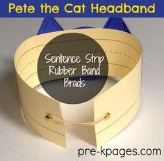 Easy Pete the Cat Headband for Story Problem Activity in preschool and kindergarten.