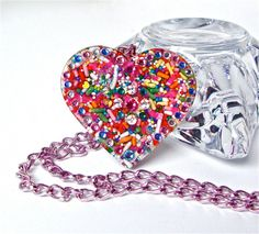 Big candy heart pendant candy jewelry by sparklecityjewelry