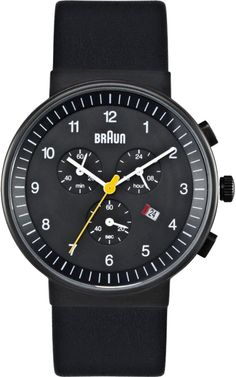 Braun Mens Chronograph Stainless Watch - Black Leather Strap - Black Dial