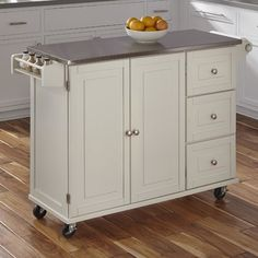 Kuhnhenn Kitchen Island with Stainless Steel Top