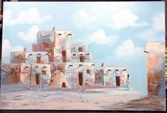 K-MESCAL-OIL-PAINTING-on-Canvas-PUEBLO-INDIAN-NATIVE-AMERICAN-Taos