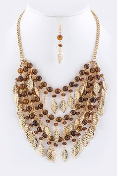 LAYERED AUTUMN LEAVES STATEMENT NECKLACE EARRINGS SET (Brown) - $22