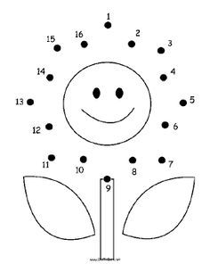 happy flower in this printable dot to dot puzzle has a smiling face, two lea. -The happy flower in this printable dot to dot puzzle has a smiling face, two lea. - 15 Disegni Unisci i Puntini da 1 a 10 per Bambini Piccoli, Animal dot to dot worksheets Nursery Worksheets, Printable Preschool Worksheets, Kindergarten Math Worksheets, Printable Puzzles, Preschool Writing, Numbers Preschool, Preschool Learning Activities, Dot To Dot Puzzles, Dot To Dot Printables