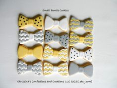 Cute little bow tie cookies team up great with baby rompers, mustaches and other cookies for a Little Man baby shower or birthday party.    Order 12-36