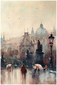 Акварельные рисунки дождливых городов