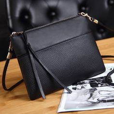 547683303ed3 Coofit Women s Clutch Bag Simple Black Leather Crossbody Bags Enveloped  Shaped Small Messenger Shoulder Bags Big