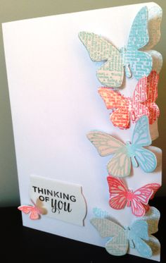 Simple 'Thinking of You' card with coral and teal coloured butterflies.  www.purplepawcrafts.com