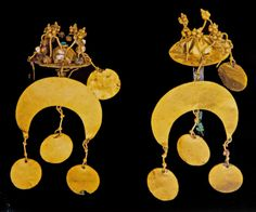 Two dangling hair ornaments, Tillya Tepe, Afghanistan, 1st Century AD