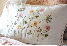 I would love to put pretty embroidered pillow shams on my bed next spring. Embroidery Applique, Cross Stitch Embroidery, Embroidery Patterns, Machine Embroidery, Flower Embroidery, Crazy Quilting, Embroidered Cushions, Pillow Covers, Pillow Shams