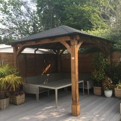 Our heavy-duty wooden Atlas Gazebo is designed to provide the perfect area for your garden, come rain or shine. This focal point is perfect for parties but equally acts as a cover for barbeques, garden furniture as well as hot tubs. Garden Buildings, Garden Structures, Outdoor Structures, Backyard Gazebo, Pergola, Roof Brackets, Wooden Gazebo, Roof Design, Hot Tubs