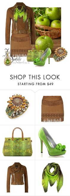 """Apple Orchard"" by leptismagna ❤ liked on Polyvore featuring Heidi Daus, Morgan, VBH, Fabulicious, Diesel, Klements, leatherjacket, cognac, leatherskirt and microminis"