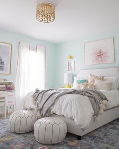 """Lily really wanted mint blue walls, so we custom mixed the perfect mint color for the walls, and paired it with lots of airy white for a really dreamy look. That gold pendant light is the perfect finishing touch and adds a bit of grown up glam, while the yummy velvet headboard is a sweet spot for reading and dreaming."" -@laybabylay and @laurenlefevre {Link in profile to shop the sale} #designduos #jossandmainmakeover"