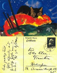 Two Cats - Throughout 1913 and 1914 Franz Marc painted a number of postcards for his close friends. Lucky recipients included fellow artists Wassily Kandinsky, Erich Henkel, Paul Klee, and the playwright and poet Else Lasker-Schüler. Franz Marc, Wassily Kandinsky, Max Ernst, August Macke, Art Du Temps, Cavalier Bleu, Postage Stamps, Envelope Art, Gatos