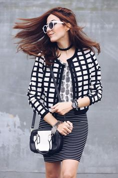 B&W mix of prints with a striped pencil skirt, a pineaple tshirt and a checked printed jacket. Love the mix of geometric prints + the funny pineapple.
