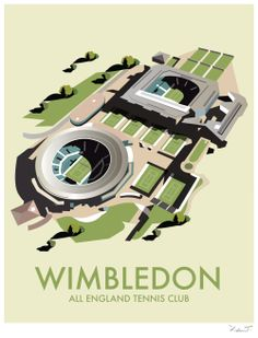 Wimbledon (DT34) Town & City Print by Dave Thompson http://www.thewhistlefish.com/product/dt34f-wimbledon-framed-art-print-by-dave-thompson #wimbledon #tennis #london