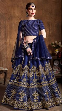 This Navy Blue Art Silk Lehenga Choli has embroidery patch work. Zari, Sequins Embroidery And Diamond Work can be customized up to size 42 only. Soft net dupatta comes with lehenga choli. Lehenga Choli Online, Bridal Lehenga Choli, Indian Lehenga, Silk Lehenga, Ghagra Choli, Lehenga Blouse, Anarkali, Indian Dresses, Indian Outfits