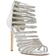 Dune Heartshine Heeled Sandals, Silver (1,680 MXN) ❤ liked on Polyvore featuring shoes, sandals, heels, sapatos, silver flat shoes, silver flat sandals, studded gladiator sandals, silver sandals and low heel shoes