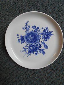 MEISSEN-seltener-Teller-Blumenbukett-in-kobaltblau-Top